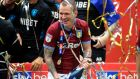 Aston Villa's Glenn Whelan celebrates after they got promoted to the Premier League. Photo: Mike Egerton/PA Wire