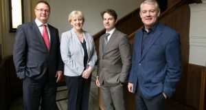 Richard Morton, manager, Equity Investment Unit, AIB, left, Minister Heather Humphreys, Donnchadh Cullinan, manager, Growth Capital, Enterprise Ireland and Paul Finnerty, chairman of Yield Lab Europe, at the announcement of a new 'agtech fund'