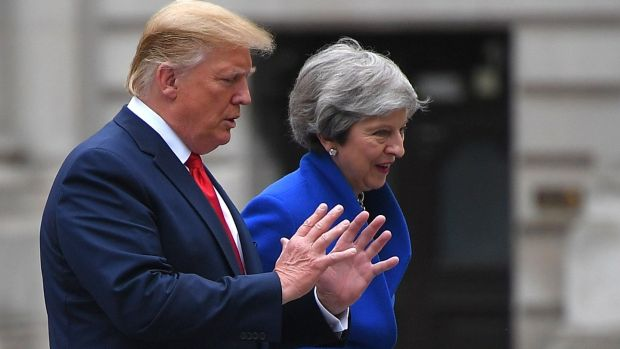 Britain's prime minister Theresa May and US president Donald Trump. Photograph: Mandel Ngan / AFP