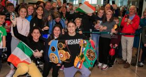 Katie Taylor, Lightweight World Boxing Champion during homecoming celebrations at Dublin Airport, Dublin. Photograph: Gareth Chaney/Collins