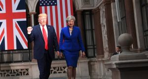 US president Donald Trump and Britain's prime minister Theresa May. Photograph: Neil Hall