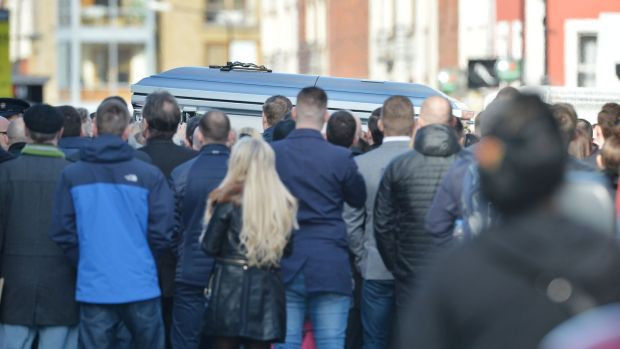 The US-style blue coffin of David Byrne on Dublin's Francis Street in 2016