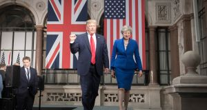 British prime minister Theresa May and US president Donald Trump are pictured in London's Foreign and Commonwealth Office during his state visit to the UK. Photograph: Stefan Rousseau/PA Wire.
