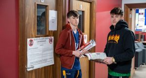 Jack Lynch Blennerville and Alex O'Shea  of Brookfield College in Tralee prepare for their exams. Photograph: Domnick Walsh/Eye Focus