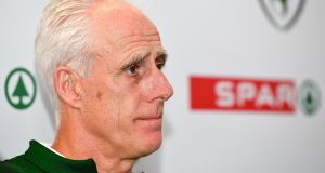 Republic of Ireland manager, Mick McCarthy says his team are not distracted by the ongoing crisis at the FAI. Photograph: Sportsfile