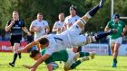 Aaron Hinkley of England competes for the ball with Angus Kernoghan of Ireland during their pool match at the World Rugby U20 Championship. Photo: Amilcar Orfali/Getty Images