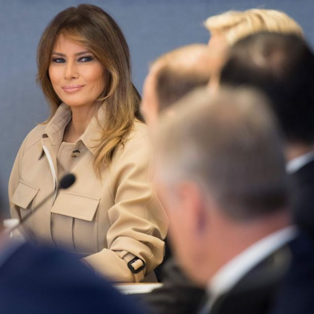 First lady fashion: Melania Trump in her Celine trench coat in 2018. Photograph: Jim Watson/AFP/Gett