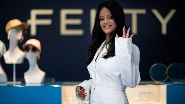 Rihanna at a promotional event in Paris for her fashion brand, Fenty, in May. Photograph: Martin Bureau/AFP/Getty Images