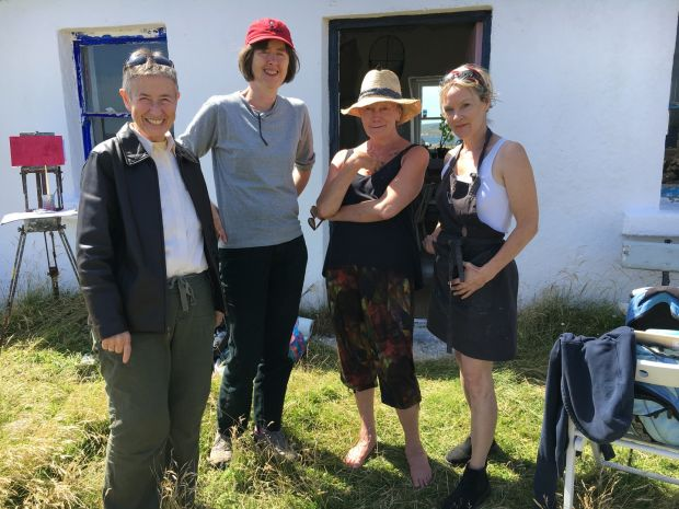 Nancy Keefe Rhodes, Brigid Sealy, Kate Thompson, Claire Griffin outside Gerard Dillon's cottage, 2018. Photograph: Erin Hinson