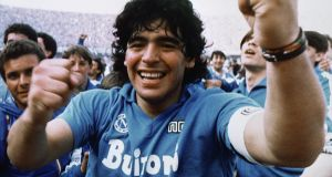 Argentine soccer superstar Diego Maradona after the Napoli team clinches its first Italian major league title in Naples in 1987. Photograph: Meazza Sambucetti/AP