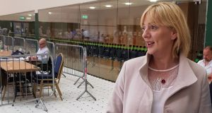 Liadh Ní Riada at the Ireland South Count Centre at Nemo Rangers GAA complex in Cork as count staff were distributing her 98,379 votes. Photograph: Barry Roche.