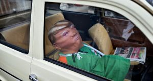 A dummy of Donald Trump sits in a parked car as  Doonbeg prepares for the visit of the US president. Photograph: Charles McQuillan/Getty Images