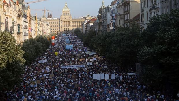 Prague witnessed probably its biggest rally since the 1989 Velvet Revolution on Tuesday evening. Photograph: Bundas Engler/Reuters