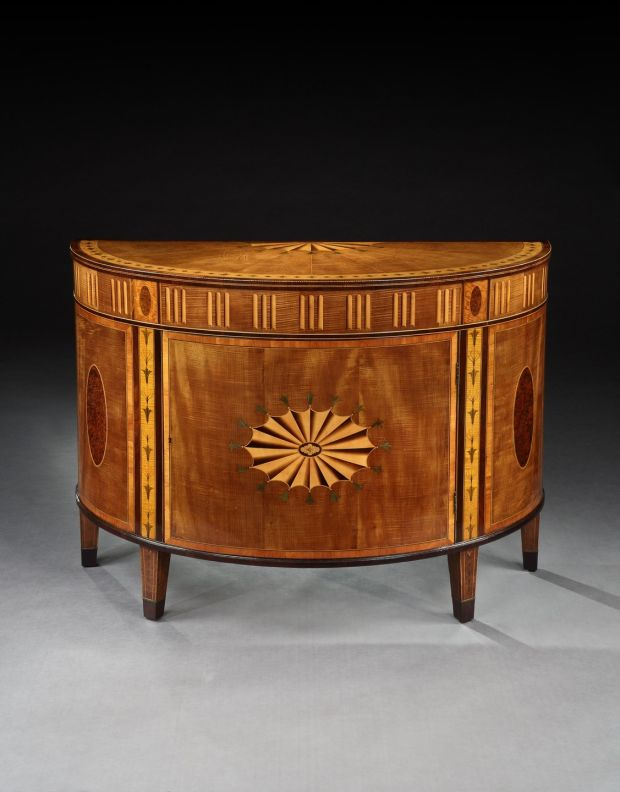 Demi-lune commode attributed to William Moore, originally from Donacomper House in Celbridge.