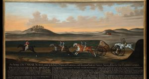 Daniel Quigley painting of The Great Carriage Match on Newmarket Heath by the Earls of March & Eglington 1750, (8ft x 3ft).