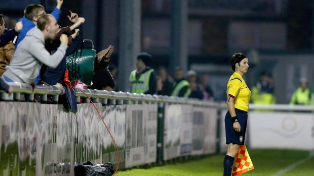 Michelle O'Neill makes a controversial decision at the SSE Airtricity League match between Bray Wanderers and St Patrick's Athletic at Carlisle Grounds, Wicklow in September 2014. Photograph: Donall Farmer/Inpho