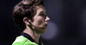 Assistant referee Michelle O'Neill: 'As a woman you have far less room for error, but you learn to deal with it, and a lot is about player management.' Photograph: Laszlo Geczo/Inpho