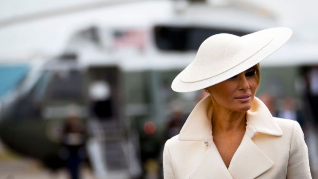 Melania Trump wearing a design by Irish milliner Philip Treacy on Wednesday after attending D-Day anniversary cermonies. Photograph: Doug Mills/The New York Times