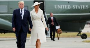 US president Donald Trump and first lady Melania departing from Southampton Airport for Shannon. Photograph: Carlos Barria/Reuters