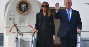 Donald and Melania Trump disembark Air Force One  at the Caen-Carpiquet Airport in Normandy, to attend D-Day commemorations. Photograph: Mandel Ngan/AFP/Getty Images