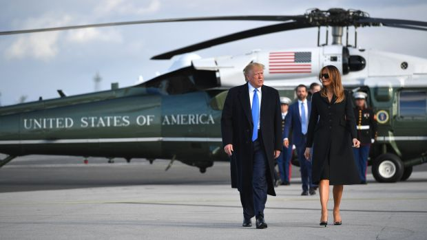 President Donald Trump and first lady Melania Trump make their way to board Air Force One at Shannon Airport to fly to Normandy, France, to attend the 75th D-Day Anniversary. Photograph: Mandel Ngan/AFP/Getty Images