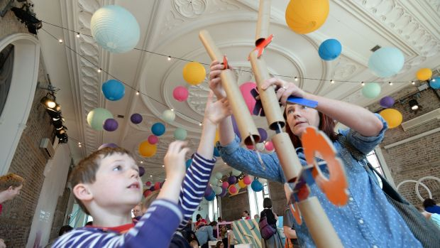 Dyllon and Claire McMahon from Kimmage in Dublin, taking part in an indoor playground with hands-on science, play and curious technology as part of the Festival of Curiosity in 2017. File photograph: Alan Betson/The Irish Times
