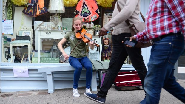 Seoda Matthews from Drogheda playing on the street during Fleadh Cheoil Na hEireann in Drogheda in 2018. The Fleadh returns to the Co Louth town this year. Photograph: Bryan O'Brien/The Irish Times