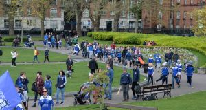A flash mob of hurling and camogie players protested in May at the lack of green space in Dublin 8  after Templeogue Synge Street GAA Club proposed redeveloping part of Dolphin Park to accommodate 161 homes. Photograph: Dara Mac Dónaill/The Irish Times.