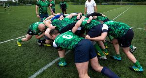 Irish rugby captain, Rory Best, takes the Emerald Warriors through their final training session ahead of Europe's biggest LGBT+ inclusive rugby tournament which takes place in Dublin this weekend. Photo: Laszlo Geczo/Inpho