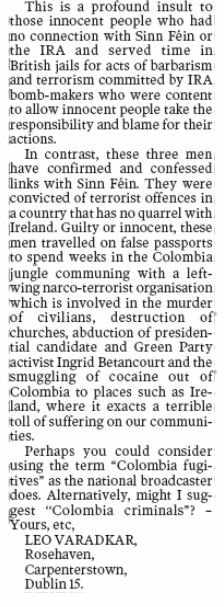 Varadkar with a riposte on The Irish Times' coverage of the Colombia Three