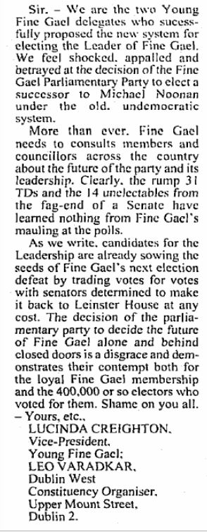 'Shame on you all': Varadkar told the Fine Gael party in April 2002
