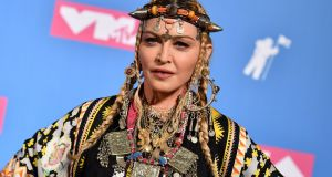Madonna poses in the press room at the 2018 MTV Video Music Awards at Radio City Music Hall  in New York City, US. Photograph: Angela Weiss/AFP/Getty Images