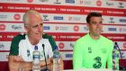 Republic of Ireland manager Mick McCarthy and captain Séamus Coleman at Thursday's press conference at the Parken Stadium in Copenhagen. Photograph:  Ryan Byrne/Inpho