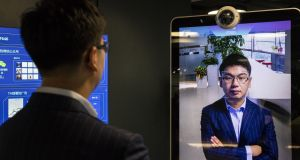 Xu Li, chief executive of SenseTime Group, is identified by the company's facial recognition system. Photograph: Gilles Sabrie/Bloomberg via Getty