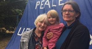 Fiona Wheeler, along with her daughter Aisling, and her four-year old granddaughter Freya, were among the contingent this week at the Shannonwatch Peace Camp, at Shannon Airport.