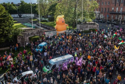 PROTEST: Crowds gathrered outside the Garden of Rememberance on Parnell St in Dublin for an anti-Trump protest in light of the US president's visit to Ireland this week. Photograph: .James Forde/The Irish Times
