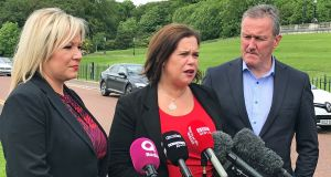 Sinn Féin's Michelle O'Neill, Mary-Lou McDonald and Conor Murphy speaking as talks to agree the return of devolved government in Northern Ireland continue. Photograph:  Rebecca Black/ PA Wire