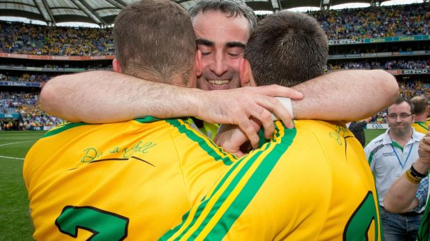 Jim McGuinness celebrates Donegal's win over Dublin in the All-Ireland SFC semi-final in Croke Park in 2014 with Neil McGee and Eamon McGee. Photograph: Morgan Treacy/Inpho
