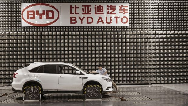 A vehicle sits in an electro-magnetic interference testing lab at BYD headquarters in Shenzhen, China. In 2018, the firm achieved 247,811 electric vehicle sales globally. Photograph: Qilai Shen/Bloomberg via Getty Images