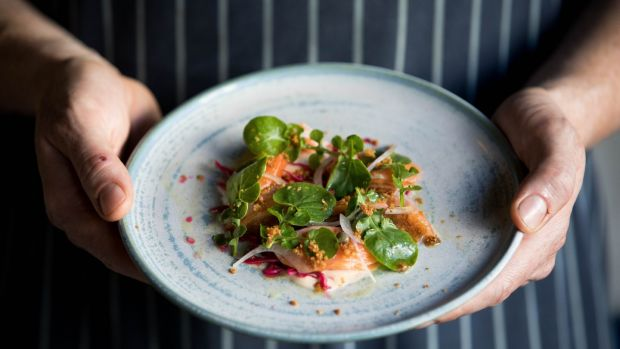 Chef Barry Fitzgerald of Bastible with his dish of hay smokey trout, with pickled red cabbage and watercress salad. Photograph: Tom Honan/The Irish Times