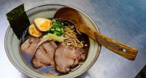 A bowl of ramen, at Bia Rebel, 409 Ormeau Road, Belfast. Photograph: Arthur Allison/Pacemaker Press