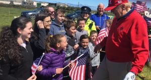 Local residents, pupils and teachers from Clohanes National School meeting US President Donald Trump at his golf resort in Doonbeg, Co Clare. Photograph: PA Wire