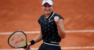 Marketa Vondrousova of the Czech Republic celebrates winning her semi-final match against Britain's Johanna Konta at the French Open in Paris. Photograph: Benoit Tessier/Reuters