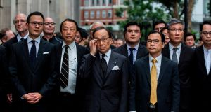 Lawmakers and lawyers  march to the central government offices in Hong Kong  to protest against the government's plans to approve extraditions with mainland China, Taiwan and Macau. Photograph:  Isaac Lawrence/AFP