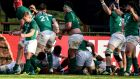 Ireland U-20 players celebrate the victory over England  in Santa Fe, Argentina. Photograph:  Amilcar Orfali/Getty Images