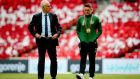 Republic of Ireland manager Mick McCarthy and assistant coach Robbie Keane walk on the pitch at the Parken Stadium ahead of the European qualifier against Denmark. Photograph: Ryan Byrne/Inpho