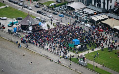 AERIAL VIEW: Crowds gather on the seafront in Bray to welcome Katie Taylor back to her hometown.  Photograph Nick Bradshaw/The Irish Times