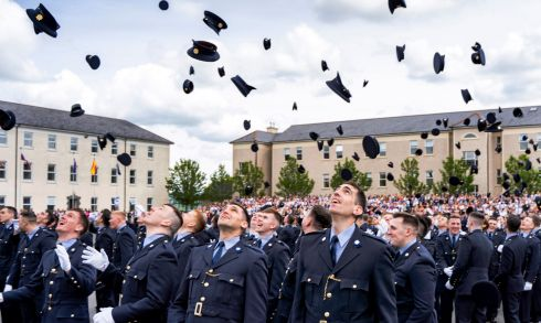 HATS OFF: Newly graduated Gardaí celebrate at a Grada passing out ceremony at the Garda College, Templemore, Co Tipperary. Photograph: Don Moloney/Press 22