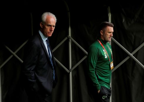 THE GAFFERS: Republic of Ireland's manager Mick McCarthy and assistant manager Robbie Keane in the tunnel of the Parken stadium ahead of Friday night's clash between Ireland the Denmark in the Euro 2020 qualifying campaign. Photograph: Action Images/Reuters/Lee Smith
