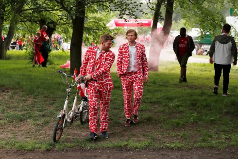 ALL DRESSED UP: Denmark fans strut their finest match wear in Copenhagen ahead of the match against the Republic of Ireland. Phototgraph: Action Images/Reuters/Lee Smith